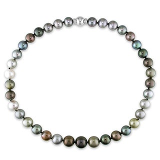 Miadora 14k White Gold Tahitian Multi-black Pearl and Diamond Necklace (10-13 mm)