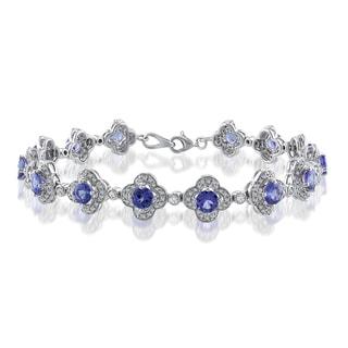 Miadora Signature Collection 14k White Gold 3 1/2ct TGW Tanzanite 1ct TDW Diamond Bracelet (G-H, SI1-SI2)