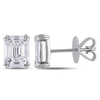 Miadora 18k Gold 1 1/2ct TDW Emerald Shape Taper Baguette Diamond Earrings (G-H, SI1-SI2)