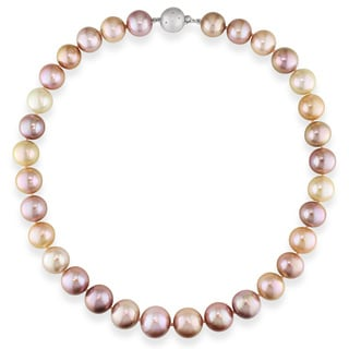 Miadora 14k White Gold Cultured Pink and White Pearl and Diamond Necklace (12-15 mm)