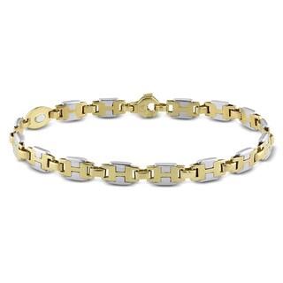 Miadora Men's 18k Two-tone Gold Fancy Flat Link Bracelet