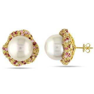Miadora 14k White Gold South Sea Pearl, Sapphire and 1/4ct TDW Diamond Earrings (G-H, SI1-SI2) (15-16 mm)