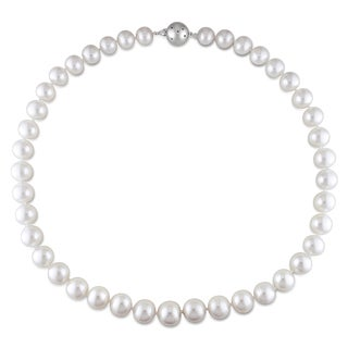 Miadora Signature Collection 14k White Gold South Sea Pearl and Diamond Necklace (9-11 mm)