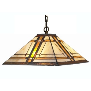 Amora Lighting Tiffany Style Mission 2-light Hanging Lamp