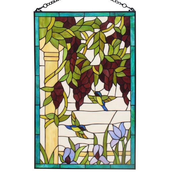 amora tiffany style hummingbirds stained glass window panel 16417566