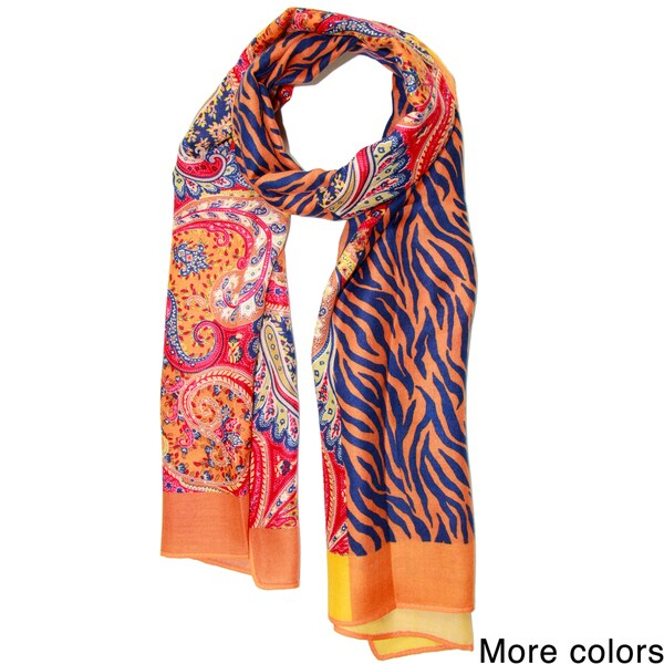 Saachi Women's Animal Paisley Mixed Media Scarf (China)