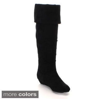 Anna Women's 'Juno-1' Riding Foldable Over-the-knee High Wedge Boots