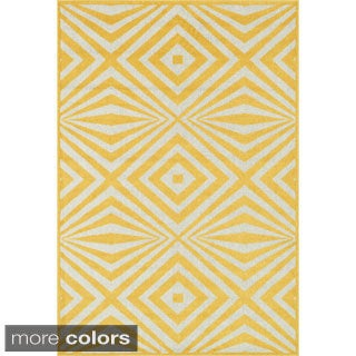 Indoor/ Outdoor Palm Diamond Rug (7'10 x 10'9)