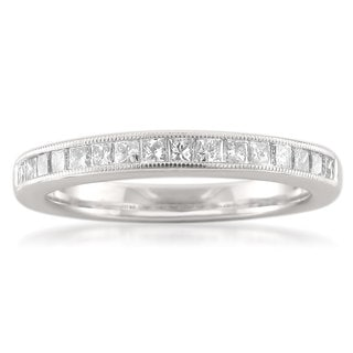 14k White Gold 1/2ct TDW Princess-cut Diamond Milgrain Wedding Band (G-H, SI3-I1)