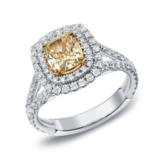 Auriya 18k Gold 2ct TDW Certified Fancy Yellow Cushion-cut Diamond Ring (F-G, SI1-SI2)