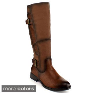 Blossom Women's 'PITA-27' Buckle Strap Knee-high Classic Riding Boots