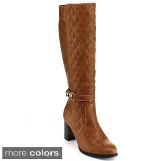Blossom Women's 'NEON-1' Quilted Ankle Strap Knee-high Chunky Boots