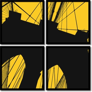 Erin Clark 'Brooklyn Bridge (yellow) Quad- set of 4' Framed Art Print 19 x 19-inch Each