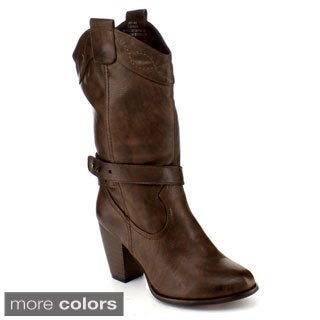 Blossom Women's 'Maria-3' Mid Calf Western Cowboy Chunky Boots