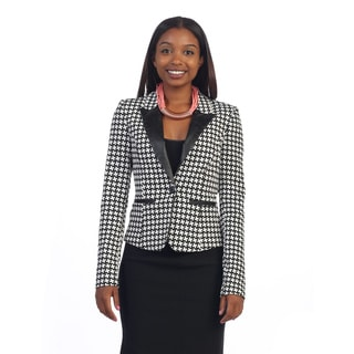 Women's Houndstooth V-neck Blazer