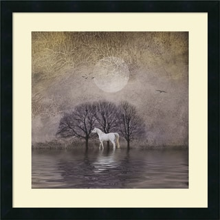 Dawne Polis 'White Horse in Pond' Framed Art Print 22 x 22-inch