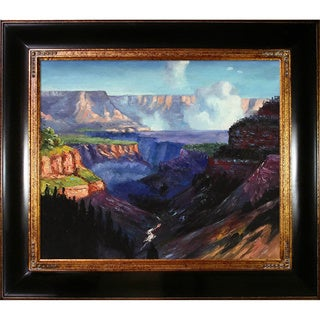 Edward Henry Potthast 'Looking Across the Grand Canyon' Hand-painted Framed Canvas Art