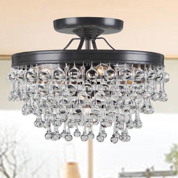 44 Inch Decorative High Quality Luxurious Ceiling Fans: Claudia 5-light Antique Black Glass Drop Flush Mount