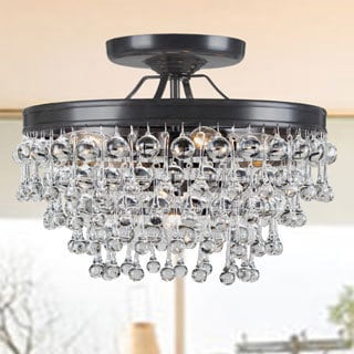 Claudia 5-light Antique Bronze Glass Drop Flush Mount Chandelier