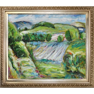 Alfred Henry Maurer 'Fields' Hand-painted Framed Canvas Art