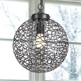 Bertha Single-light Antique Bronze Chandelier with Iron and Handicraft Shade