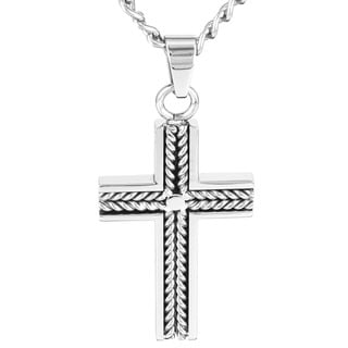 Crucible Stainless Steel Double Rope Cross Pendant Necklace