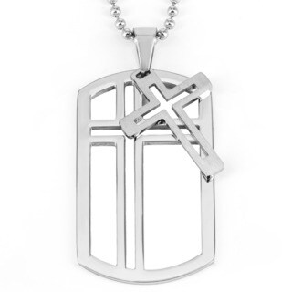 Men's Stainless Steel Cross Dog Tag with Cross Charm Pendant Necklace