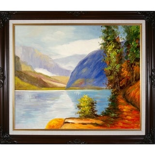Edward Henry Potthast 'Lake Louise, British Columbia' Hand-painted Framed Canvas Art