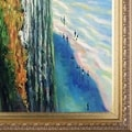 Claude Monet 'Cliff at Dieppe' Hand-painted Framed Canvas Art