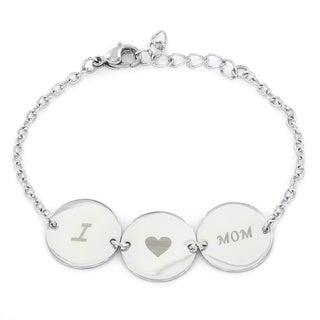 Stainess Steel 'I Love Mom' Disk Link Bracelet