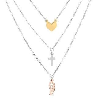 ELYA Stainless Steel Layered Charm Necklace