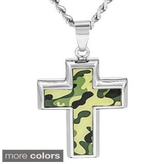 Crucible Stainless Steel Camouflage Cross Pendant Necklace