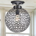 Bertha Antique Bronze Flush Mount Chandelier with Iron and Handicraft Shade