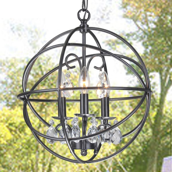 Benita 3-Light Antique Bronze Metal Globe Crystal Chandelier