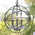 Benita 3-light Antique Black Metal Globe Crystal Chandelier