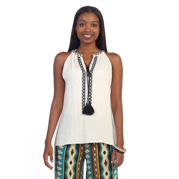 Hadari Women's White Embroidered Sleeveless Top