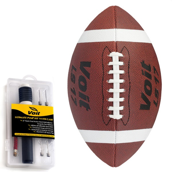 Voit Official Synthetic Sponge Football with Ultimate Inflating Kit