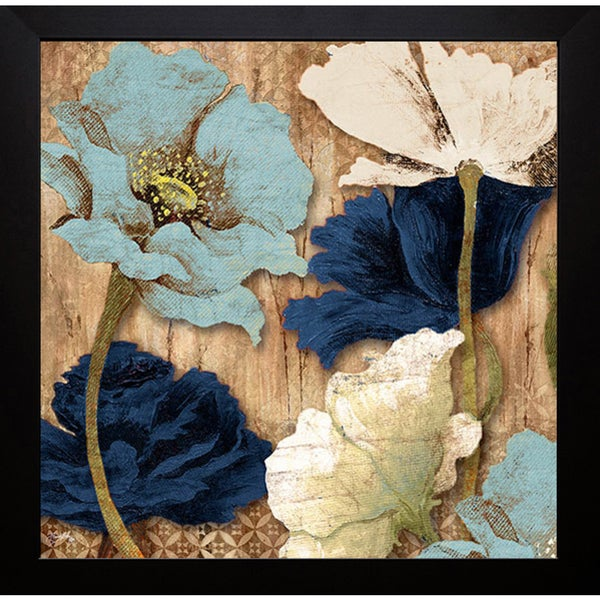Elizabeth Medley 'Blue Joyful Poppies II' Framed Art Print 13398114