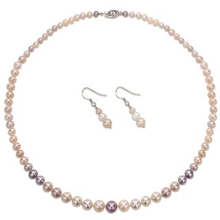 DaVonna Sterling Silver Multi-color Graduated Pearl Jewelry Set (4-8 mm)