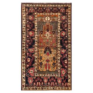 Herat Oriental Semi-antique Afghan Hand-knotted Tribal Balouchi Brown/ Ivory Wool Rug (2'10 x 4'8)