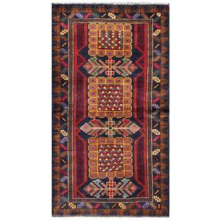 Herat Oriental Afghan Hand-knotted Semi-antique Tribal Balouchi Brown/ Navy Wool Rug (2'7 x 4'7)