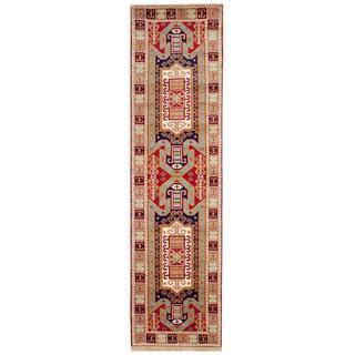 Herat Oriental Indo Hand-knotted Kazak Red/ Light Blue Wool Rug (2'6 x 8')