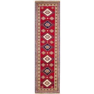 Herat Oriental Indo Hand-knotted Kazak Red/ Navy Wool Rug (2'6 x 8')