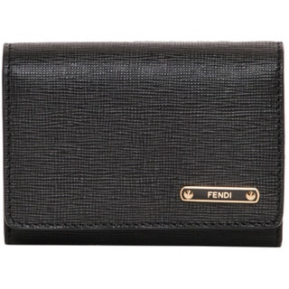 Fendi Crayons Black Flap Card Case
