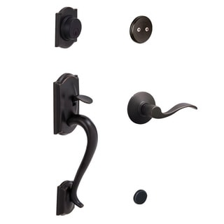 Schlage Camelot Aged Bronze Left-hand Dummy Handleset with Accent Interior Lever