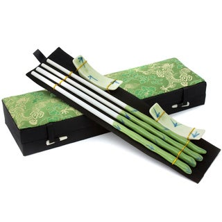 Set of 2 Green Bamboo Porcelain Chopsticks Set (China)