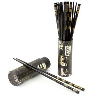 Set of 10 Black Wooden Chopsticks (China)