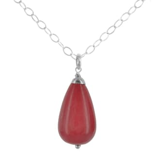 Ashanti Sterling Silver Red Jade Briolette Gemstone Handmade Necklace (Sri Lanka)