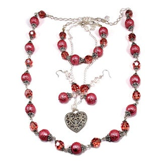 Medium Pink Bumpy Glass Pearl and Pink Crystal 4-piece Wedding Jewelry Set