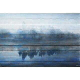 Parvez Taj 'Lake Marmont' Painting Print on White Wood